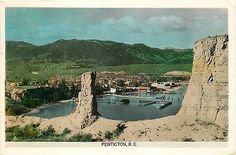 Penticton British Columbia Canada 1950s Town View Water Front Vintage Postcard