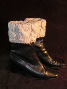 Hand knit boot toppers....good idea for winter knitwear.
