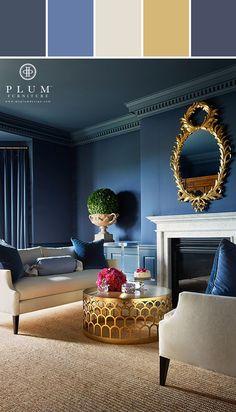 Navy Blue Walls Designed By Lisa Perrone | Stylyze Creative Director via Stylyze
