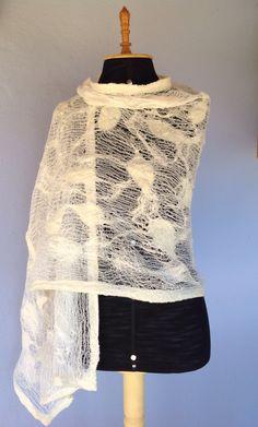 Técnica de Felting em gaze de algodão e lã merino - Branco que te quero Branco !