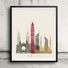 Dubai skyline poster  Fine Art Print Glicee Poster by Paulrommer