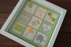 Geschenk zur Geburt, Taufe... personalisierter Ribba-Rahmen (Ikea) in grün-gelb