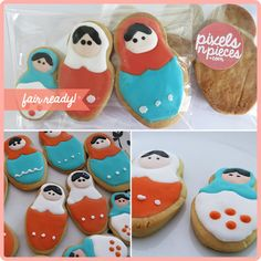 Babushka cookies decorated with royal icing. Designed by pixelsnpieces.com