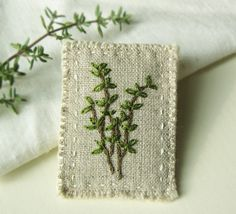 Thyme Embroidered Brooch by Sidereal on Etsy