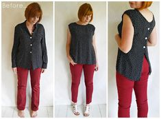 Refashion Co-op: Refashioned outfit: Polka Blouse… DIY Clothing & Tutorials: Refashioned outfit: Polka Blouse and jeans. polka-dot blouse refashion :: back to front! Button down blouse refashion. Turn around, trim neckline. Another refashion by turning Blouse Refashion, Diy Clothes Refashion, Diy Clothing, Sewing Clothes, Refashioned Clothing, Refashioning Clothes, Remake Clothes, Diy Fashion, Ideias Fashion