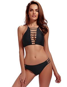 6eb0e83a2d9a1 Women s Bathing Suit 2 Piece Halter Bikini Set Padding Tankini Swimsuit -  Black(bikinis) - Clothing