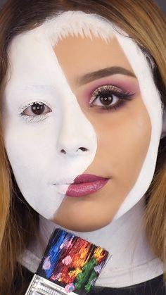 Face Paint Makeup, Eye Makeup Art, Skin Makeup, Monster High Makeup, Amazing Halloween Makeup, Make Up Videos, Creative Makeup Looks, Crazy Makeup, Fantasy Makeup