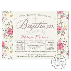 PRINTABLE Baptism Invitation Girl Baptism Invitation Pink