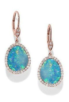 Fashion: trends, outfit ideas, what to wear, fashion news and runway looks - 13 Shimmering Opal Jewelry Finds To Fire Up Your Spring Accessories Game - Rose Gold Drop Earrings, Opal Earrings, Opal Jewelry, I Love Jewelry, Turquoise Jewelry, Fine Jewelry, Jewelry Design, Dainty Jewelry, Chandelier Earrings