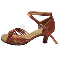 Customized Women's Latin Sandals Customized Heel Satin Open Toe Dance Shoes for women 2017 - $40.03