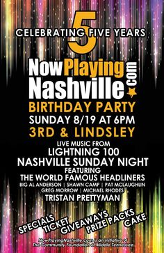 This Sunday we've partnered with 3rd & Lindsley Nashville and Lightning 100's Nashville Sunday Night. This week features The World Famous Headliners & Tristan Prettyman. Come by at 6pm and have a shot at tickets to The Temper Trap or Beach House at Marathon Music Works, Allen Stone at Cannery Ballroom, Rufus Wainwright at the Ryman, Frist Friday with The Dynamites featuring Charles Walker, a Country Music Hall of Fame and Museum or Visit Music City prize pack, and Two Old Hippies…