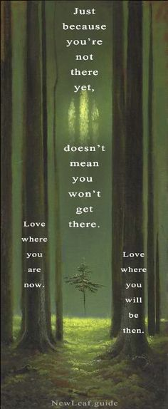 Just because you're not there yet, doesn't mean you won't get there. Love where you are now. Love where you will be then. NewLeaf.guide