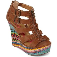 Betseyville(R) Peddle Studded Gladiator Wedge Sandal ($40) ❤ liked on Polyvore