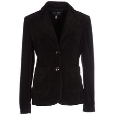 Armani Jeans Blazer (825 ILS) ❤ liked on Polyvore featuring outerwear, jackets, blazers, dark brown, velvet jacket, armani jeans jacket, velvet blazer, two button blazer and single breasted jacket