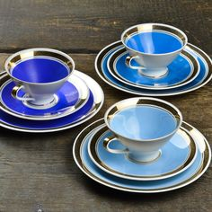 ASSORTED 1960'S GEHREN  BLUE TEA CUP TRIOs $45.00 each