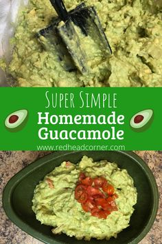 Super Simple Homemade Guacamole is so easy to make and is done in just minutes! It only takes a few fresh ingredients and spices to turn avocados into a creamy, flavorful dip! Party Dip Recipes, Fun Easy Recipes, Dairy Free Recipes, Appetizer Recipes, Easy Meals, Homemade Guacamole, Guacamole Dip, Ground Beef Recipes Easy, Kraft Recipes