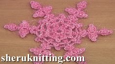 How to Make Crochet Snowflake Tutorial 23 http://sheruknitting.com/videos-about-knitting/crochet-elements-and-projects/item/838-how-to-make-crochet-snowflake-tutorial-23.html In this crochet video tutorial i will be making this crochet snowflake. Crochet snowflake have 6 beautiful points and 2 sides.