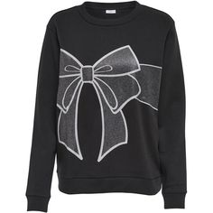 M&Co Jdy Christmas Bow Jumper ($26) ❤ liked on Polyvore featuring tops, sweaters, black, crew sweater, evening sweaters, wrap sweater, christmas sweaters and long sleeve sweater