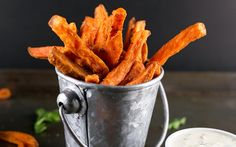 Indian Spiced Sweet Potato Fries With Parsley Cashew Dip [Vegan] | One Green Planet