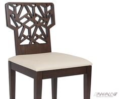 Geo Dining Chair with upholstered seat and laser cut wooden back  Designer: Mona Helmy   W = 49 cm D = 55 cm H = 85 cm Seat H = 46 cm