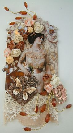 Mixed Media Collage All Peaches and Cream by ArtfullyMusing