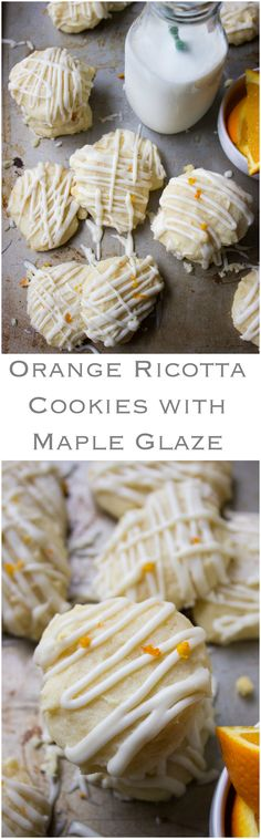 Orange Ricotta Cookies with Maple Glaze - cake like cookies with creamy ricotta and hint of orange. Drizzled with luscious maple glaze | littlebroken.com @littlebroken