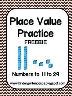 Place Value Practice - Numbers 11 to 29 - Freebie - Students use their knowledge of place value, ten frames, and counting skills to fill out these useful number sense worksheets. Ideal for Kindergarten or First Grade. Teaching First Grade, 1st Grade Math, Teaching Math, Grade 1, Teaching Ideas, Teaching Materials, Teaching Tools, Second Grade, Math Classroom