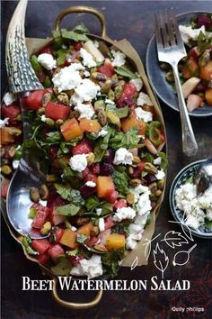 I believe in mixing it up, trying new things, looking at ingredients in different ways, in different combinations. And, I think this beet watermelon salad falls into that genre of Ally recipes. #salad #watermelonsalad Beet And Goat Cheese, Beet Salad, Healthy Salad Recipes, Easy Recipes, Delicious Recipes, Healthy Food, Tasty, Different Salads, Salads