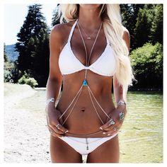 "Helen Janneson Bense on Instagram: "" Adorned in turquoise, quartz + silver ✌️Body jewels available online www.gypsylovinlight.com/shop + @emelle_swimwear bikini  @bobbybense #california #travel #bodyjewelry"""