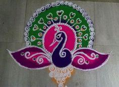 Peacock Rangoli Patterns for Diwali