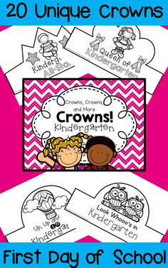 A huge collection of crowns that your kindergartners can wear on their first day of school. They'll be engaged from the start as they color and/or decorate a crown of their own! Choose one design for the entire class or copy several designs and let students choose their favorite. Also available for preschool and first grade!