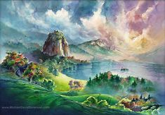 The Columbia River Gorge at Beacon Rock- Watercolor Print. Pacific Northwest…