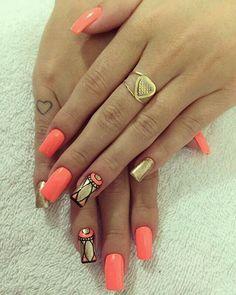 Top 30 Trending Nail Art Designs And Ideas - Nail Polish Addicted Hot Nails, Hair And Nails, Gorgeous Nails, Pretty Nails, Coral Nails With Design, Tribal Nails, Nails Polish, Orange Nails, Types Of Nails