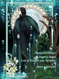"mosellegreen: ""severus-snape-my-eternal-prince: "" Artwork by ぴよ:( 'Θ' ): This is fantastic!!! Happy Birthday, Prince! ♥ ♥…"