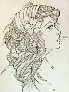 Gypsy Girl Art | Gypsy girl line art | Tattoo flash because I know I'll get addicted and want this