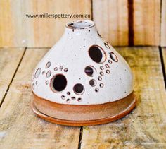 Australian handmade ceramic candle holder by www.millerspottery.com