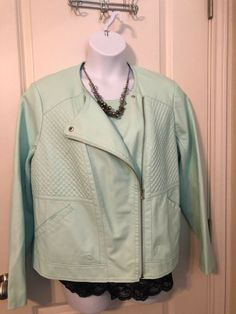 97e9e2dd06d Lane Bryant Honeydew Plus Women s Quilted Faux Leather Jacket Size 18 20   fashion