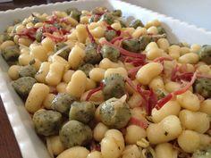 chicche ai due colori con julienne di porri speck e soja in germogli - italian food, love italy