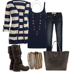 """""""Navy and Tan Striped Cardigan"""" by chells-style on Polyvore"""