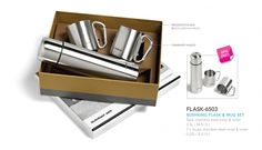 Bushking Flask & Mug Set Flask: stainless steel inner & outer 0.5L 2 x mugs: stainless steel inner and outer 0.22L Presentation box 28.5 ( l ) x 23.5 ( w ) x 8 ( h ) Carabiner handle