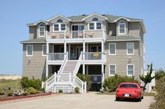 South Nags Head: 12 bdrm (8 K/Q), about $730/person (does not include $200 optional towel fee or $300 security deposit) 9 & 2 half baths, 4 fridges, 2 ranges, 3 dishwashers, ice maker, 2 washer/dryer sets, ample parking, $350 pool heat fee, fish cleaning station (for those that need to know), charcoal grill, linens provided, towels additional