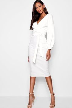 Tall Mabel Off The Shoulder Wrap Midi Bodycon Dress