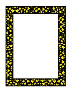 This stars border includes bright yellow stars against a black background. It has an outer space feel, but would also be appropriate for flyers for plays and other dramatic events. Free to download and print.