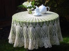 Free Crochet Tablecloth Pattern – Crochet and Knitting Patterns Crochet Tablecloth Pattern, Granny Square Crochet Pattern, Crochet Round, Crochet Chart, Free Crochet, Oval Tablecloth, Crochet Baby Cocoon, Crochet Dolls Free Patterns, Knitting Patterns