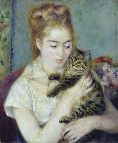 Woman with a Cat, 1875. Renoir