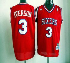76ers #3 Allen Iverson Red Throwback Embroidered NBA Jersey!$20.50USD
