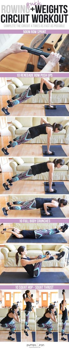 A Quick (But TOUGH) Rowing + Weights Circuit Workout
