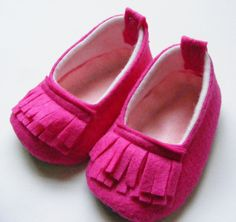 The Color Pop Loafer Neon Hot Pink Felt Baby Shoes. $30.00, via Etsy.