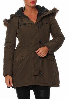 SKUTARI Luxus Designer Damen Steppmantel Mantel Parka Echtfell Four Fell Jacke Daunen Look Winter: Amazon.de: Bekleidung
