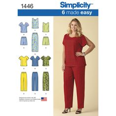 Make comfortable, easy Plus Size coordinates. Pants and shorts have elastic waist. Make a sleeveless top with notched collar and darts, a short sleeve scoop neck with split sleeve or short sleeve V-neck with darts. Simplicity sewing pattern.